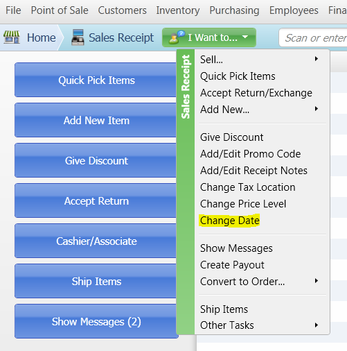 How to Change the Date of a Sales Receipt in QuickBooks POS